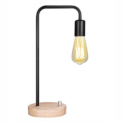MAVL Lámpara de Escritorio Industrial, lámpara de Mesa de Bombilla de Edison Vintage para Dormitorio, Oficina, Dormitorio, Sala de Estar Blanco, Negro (sin Bulbo) (Color : Negro)