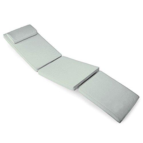 Nexos GL06057 DIVERO Liegenauflage für Deckchair Steamer Sitzpolster für Gartenmöbel Holzliege Liegestuhl – bequem hochwertig robust – grau