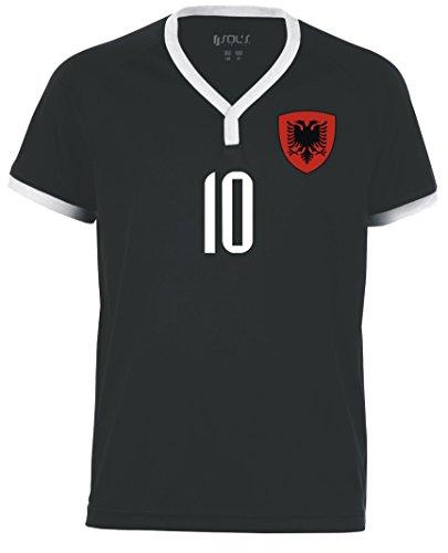 Aprom-Sports Albanien Kinder Trikot - Hose Stutzen inkl. Druck Wunschname + Nr. Schwarz SSSWM 2018 (128)