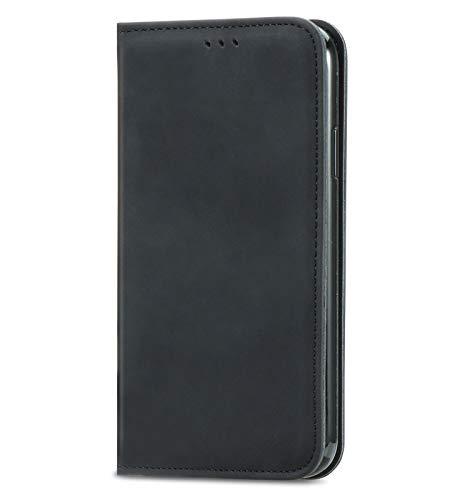 VGANA Hülle für ZTE Nubia Red Magic 6s Pro, Brieftasche PU Lederbezug Einfache Mode Muster Buchstil Handy Shell. Schwarz