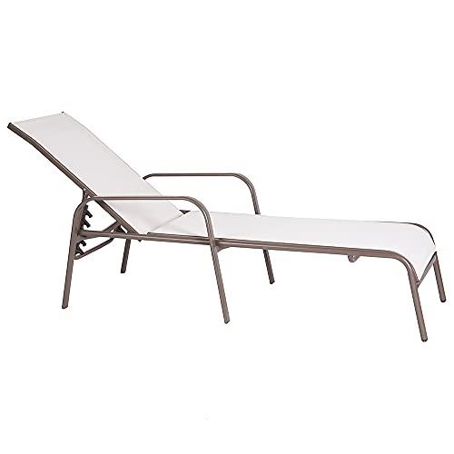 Tumbona de jardín reclinable Clasic de Hierro y textileno Taupe de 193x65x48 cm - LOLAhome