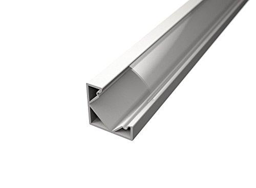 Lot de Profilés en aluminium de 2 m blancs à angle de 45°, pour rubans à LED avec diffuseur Trasparent, embouts et fixations de montage inclus 3 BARRE DA 2 MT (6 MT) Cover Trasparente