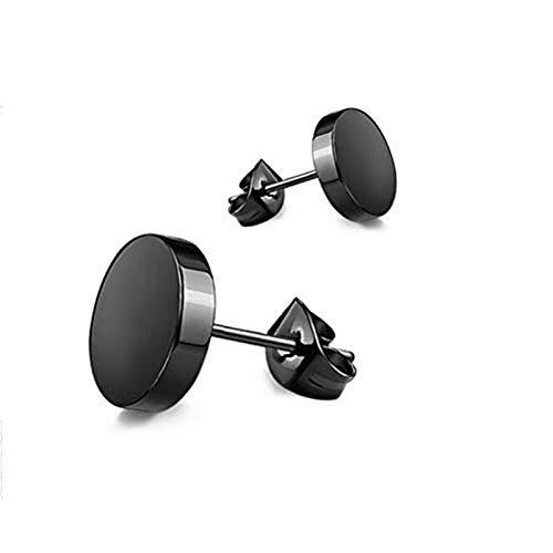 Nwihac Pendientes de Acero Inoxidable Hebilla Circular Negra para Damas Joyas para Hombres (Color: 8mm)