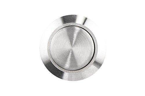 HUBER Klingeltaster aus Edelstahl - Türklingelknopf - Haustürklingel aus Edelstahl - Klingelschalter, Klingel, Klingeldrücker, IP65, rund