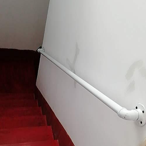 FS Handlauf für Treppen Innen und Außen treppen, Handlaufhalterungen für Treppen außen, Weiß Metall Schmiedeeisen Außen Wand treppengeländer(Size:200cm)