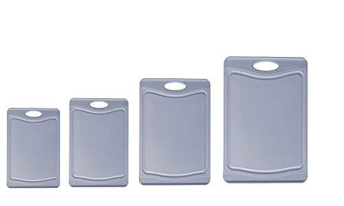 Steuber - Juego de 4 tablas de cortar con trona para zumos, 4 tamaños, utilizables por ambos lados, superficie antideslizante, color azul