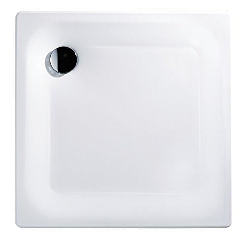 'aquaSu® Stahl-Brausewanne Sunda | Extra flach | 80 x 80 x 2,5 cm Weiß