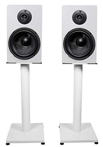 Buy Bargain Pair Rockville RockShelf 68W White 6.5 Home Bookshelf Speakers w/21 Stands