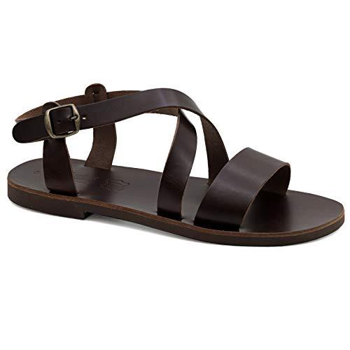 44 Braun Emmanuela Gladiator Sandalen aus Leder für Herren, hochwertige handgefertigte Herren Sandalen mit verstellbarem Schnallenriemen, griechische Sommerschuhe mit Riemchen für Herren
