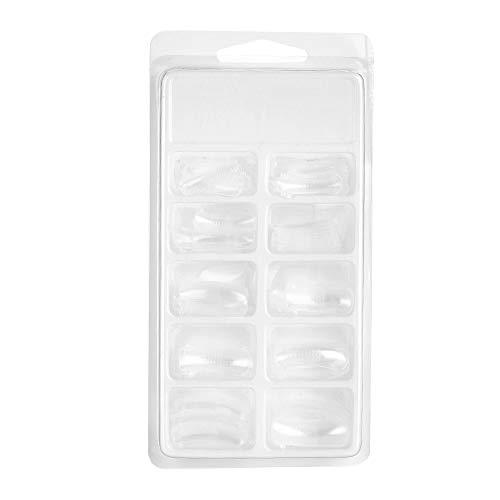 ANGGREK 100pcs forme d'ongle transparente en plastique faux moule à ongles clair pleine couverture moule à ongles avec échelle