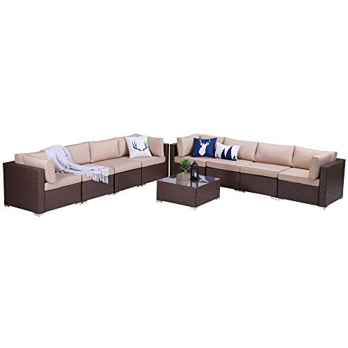Green4ever Patio 9 Piece Furniture Set Outdoor Conversation Rattan Sofa Sets, All Weather PE Wicker Couch Sectional Set with Coffee Table, Brown Wicker Beige Cushions