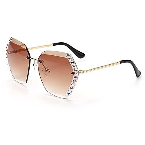 AMFG Gafas de sol de moda sin montura de cristal, hombres, hombres, al aire libre, parabrisas, gafas de sombrilla (Color : F)