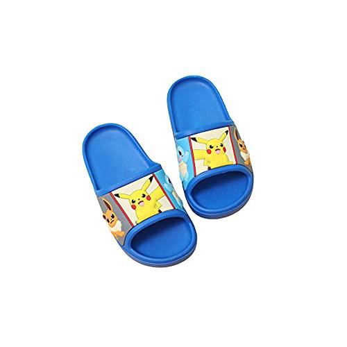 Rubyurphy Pokemon Pikachu Girls Garçons Sandales Enfants Sandales de Bain, Summer Enfants Piscine Footwear Mens Femmes Chaussures de Plage-Bleu_Eu30 / 31 (19cm)