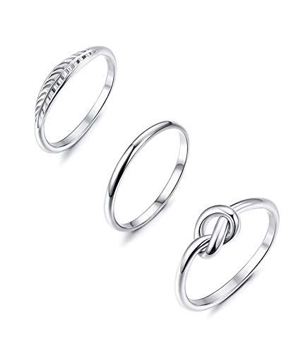 YADOCA 3 Pcs Stainless Steel Engagement Ring Set for Women Knot Feather Ring Thumb Chevron Rings Stackable Cute Simple Band Size 4-12
