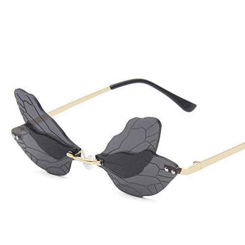 Gafas de sol de lujo sin montura de gran tamaño, ojo de gato, para mujer, vintage, degradado, colorido, libélula, ala punk, gafas de sol