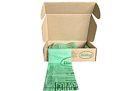 BioBag (USA), The Original Compostable Bag, 2.6 Gallon, 100 Total Count, 100% Certified Compostable Kitchen Food Scrap Bags, Kitchen Compost Bin Compatible