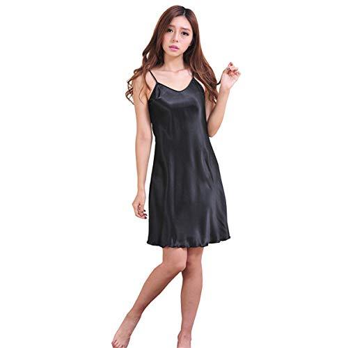 Zwarte oversized vrouwelijke satijnen rayon nachtjapon dame sexy spaghetti nachtjapon dames nachtjaponnen mouwloze nachtkleding nachtkleding