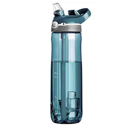 WTALL Outdoor Sports Botella de Agua portátil de Gran Capacidad Cabeza de plástico Transparente a Prueba de Fugas