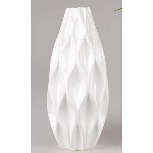 formano Deko Bodenvase RAUTENRELIEF konisch rund H. 50cm D. 22cm weiß Keramik