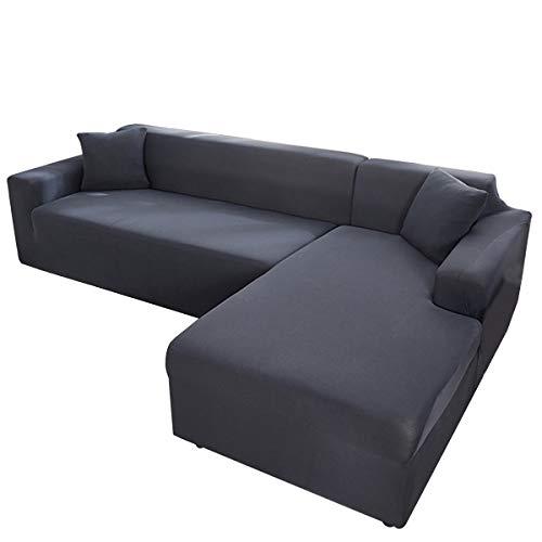 AllRing Sofabezug L-Form Ecksofa Sofa Spannbezug Stretch Sofabezug Set für 1-4 Sitzer Sofa(Wenn Ihr Sofa für L-Form Ecksofa ist, müssen Sie Zwei (Dark Grey,2-Seater 145-185cm)