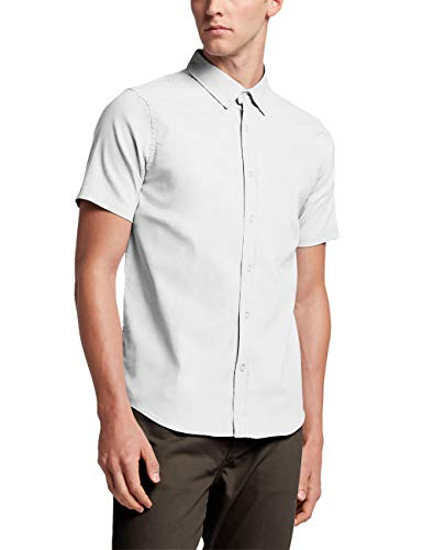 Hat and Beyond Mens Short Sleeve Slim Fit Button Down (Medium/ mx01_White)