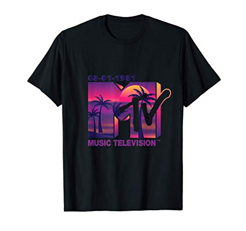Mademark x MTV - The official 1981 MTV Logo with purple Palms in the Sunset T-Shirt