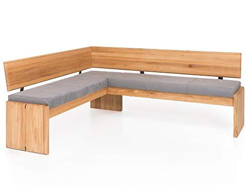 moebel-eins Scott Eckbank mit Truhe, Material Massivholz/Bezug Kunstleder, Eiche, 167 x 192 cm, silvercreme