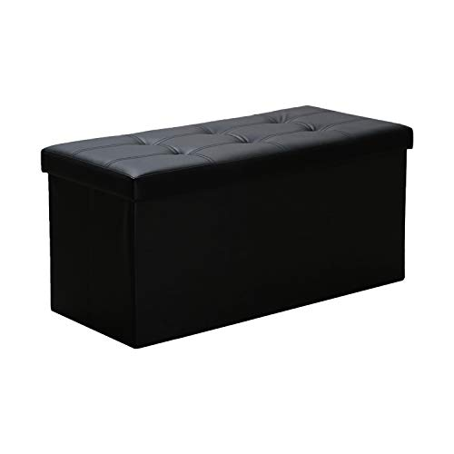 WIS Sitzhocker Schwarz Faltbare Sitzbox Fußauflage Schlafzimmer Aufbewahrungsmöglichkeit für Spielzeug Bücher PVC-Leder Sitzbank mit Deckel Faltbox 76 * 38 * 38cm
