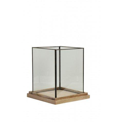 Modernes Windlicht BILLUND Laterne Glas Holz Kerzenhalter Kerzenleuchter