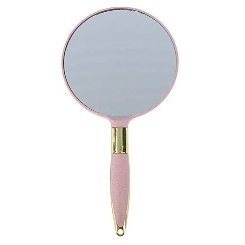 NMLB Miroirs de Poche Vintage en Plastique Ronds avec Miroir de Maquillage de poignée Cadeaux de Dames 4 Couleurs, Rose