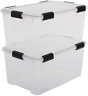 Iris Ohyama, Lot de 2 Boîtes de Rangement / Caisses de Rangement Hermétiques - Air Tight Box - AT-L, Plastique, Transparen...