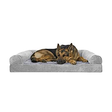 FurHaven Orthopedic Faux Fur & Velvet Sofa-Style Couch Pet Bed for Dogs and Cats, Smoke Gray, Jumbo