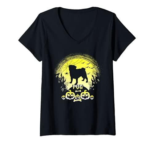 Mujer Holiday 365 Halloween PUG perro aterrador personalizado Camiseta Cuello V