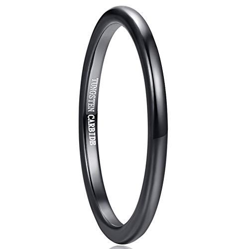 Vakki Unisex Wolfram Karbid Ring 2mm Schwarz Poliert Komfort Fit Größe 67(21.3)