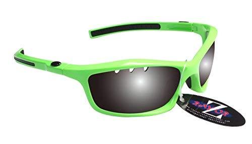 Rayzor profesionales ligeros UV400Verdes Deportes Wrap Running Gafas de sol, con un lente ahumada con ventilación