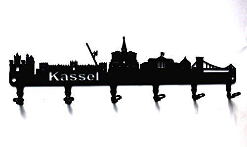steelprint.de Schlüsselbrett/Hakenleiste * Skyline Kassel * - Schlüsselboard Hessen, Schlüsselleiste, Metall - 6 Haken - schwarz