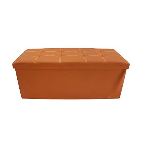 rebecca mobili Pouf Organizador Polipiel Con Tapa Naranja Duradero Dormitorio (Code RE6156)