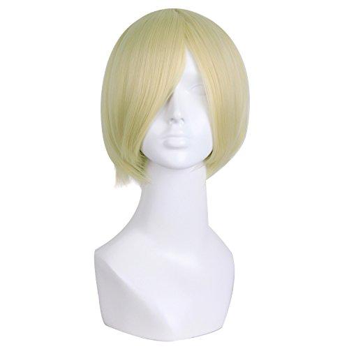 MapofBeauty 12 Inch/30cm Knap Dame Mannen CosplayName Recht Synthetische Vezels Pruiken (Blond/Licht Blond)