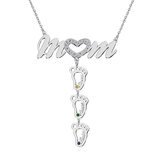 BAUMA AUTO Personalized Mother Name Necklace 1-8 Custom Baby Feet Pendant Necklace for Mom with Simulated Birthstone Free Engraving Baby Name or Date Family Jewelry for Mother's Day (Style-7)