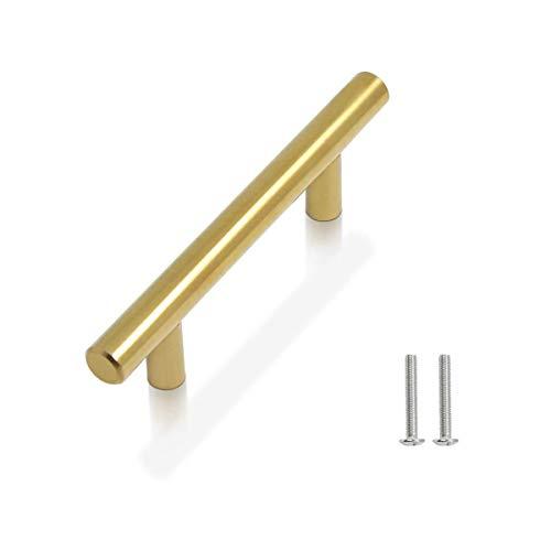 Drenky 10 piezas Dorado Aleación de acero inoxidable tirador puerta corredera Cocina Armario Cajón Manija Tire del gabinete Manija con tornillos 96 mm Centros de orificio