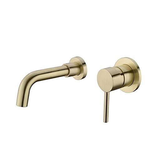 Grifo de lavabo de latón negro mate, grifo de lavabo de baño caliente y frío, boquilla giratoria de agua montado en la pared, 1 grifo mezclador de fregadero… (color: 1)
