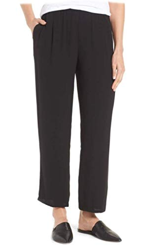 Eileen Fisher Silk Georgette Crepe Straight Ankle Pants 1X MSRP $278.00 Black