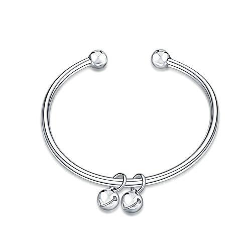Bishilin Versilbert Damen Armband mit Anhänger Perlen Hochzeit Armreifen Silber