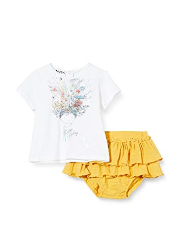 MEK Compl. T-Shirt con Gonnellina Conjunto de Ropa, Amarillo (Giallo 01#Negro/A), 46 (Talla del Fabricante: 0M) para Bebés