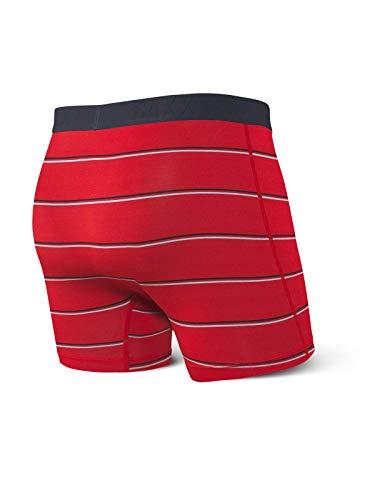 Saxx Underwear Herren Vibe Boxer, red Shallow Stripe, L