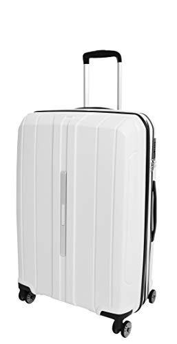 Hard Shell 4 Wheel Suitcases Expandable White Luggage TSA Lock Zipped Travel Bag - Pluto (Medium | 66x44x27cm/ 3.00KG,65/15liters)