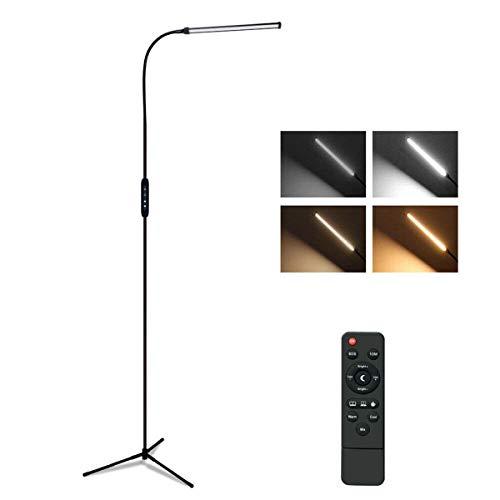Derclive - Lámpara de pie (12 W, 72 ledes, regulable, con mando a distancia, para el hogar, sala de estar, oficina, Reino Unido/UE