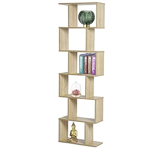 BAKAJI Libreria Scaffale 6 Ripiani in Legno Design Zig Zag Moderno per Soggiorno Salotto Casa o Ufficio Dimensione 180 x 58 x 28 cm