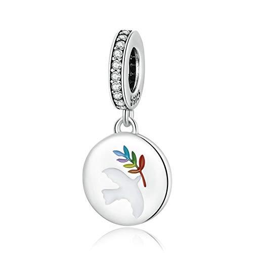 HMMJ S925 Sterling Siling Charms Beads, Peace Dove Coin DIY Colgante Hecho a Mano Compatible con Pandora Troll Chamilia Pulsera Europea Collares