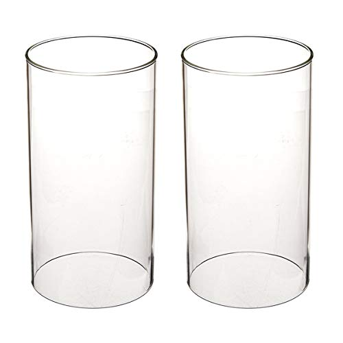 """SG Clear Candle Holder Glass Chimney for Candle Glass Cylinder Open Ended Clear Glass Lamp Shade Open 3.5"""" Height 8"""" (D3.7 H8 2 Pack)"""